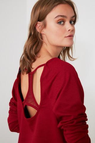 Trendyol Burgundy Knitted Pajama Set dámské XS