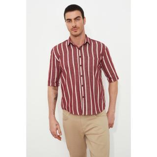 Trendyol Burgundy Mens Boxy Fit Short Sleeve Striped Shirt Shirt pánské S
