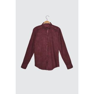 Trendyol Burgundy Mens Button Collar Oil Wash Slim Fit Shirt pánské S