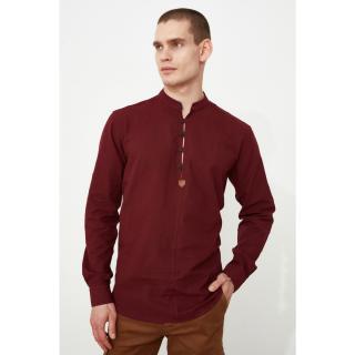 Trendyol Burgundy Mens Regular Fit Judge Collar Shirt pánské S