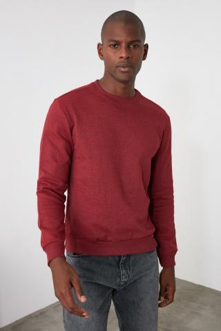 Trendyol Burgundy Mens Regular Fit Sweatshirt pánské M