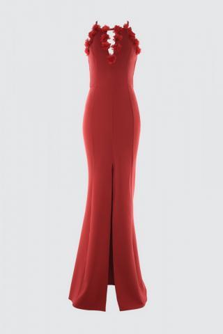 Trendyol Burgundy NeckLine Detailed Evening Dress & Graduation Dress dámské 34