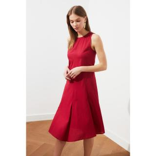 Trendyol Burgundy Pleat Dress dámské 34