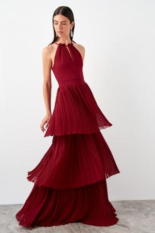 Trendyol Burgundy Pleated Dress dámské 34