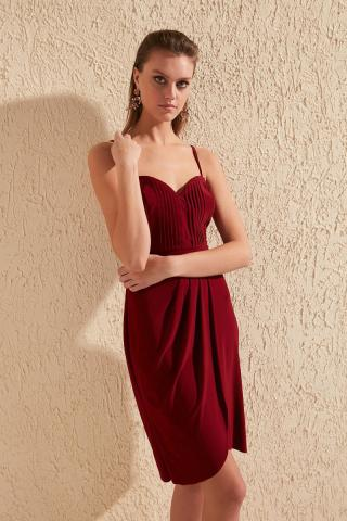 Trendyol Burgundy Ribbed Detailed Dress dámské 34