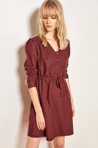 Trendyol Burgundy Shirred Waist Dress dámské 34