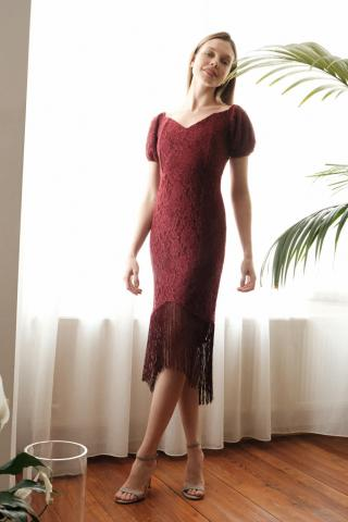 Trendyol Burgundy Tassel Detailed Dress dámské 34