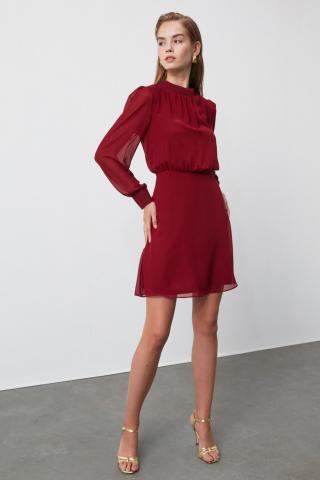 Trendyol Burgundy Upright Neck Line Detailed Dress dámské 34