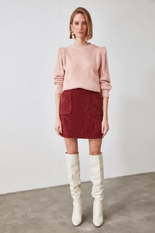 Trendyol Burgundy Velvet Skirt dámské 34