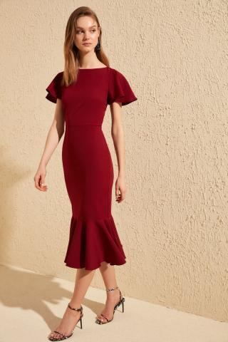 Trendyol Burgundy Volli Midi Dress dámské 34