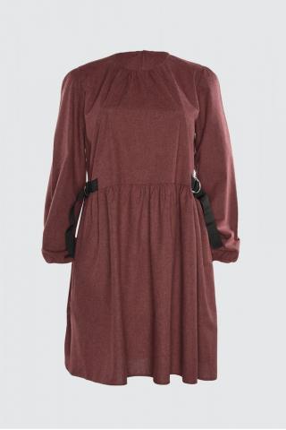 Trendyol Burgundy Waist Detail Dress dámské 34