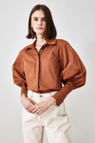 Trendyol Camel Balloon Sleeve Shirt dámské 34