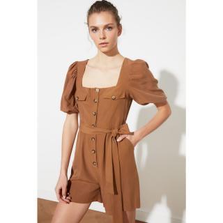 Trendyol Camel Belt Button DetailEd Jumpsuit dámské 34