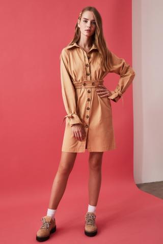 Trendyol Camel Belt Dress dámské 34
