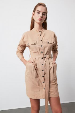 Trendyol Camel Belted Pocket Detailed Dress dámské 34