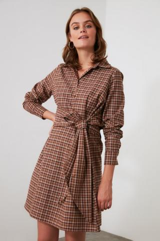 Trendyol Camel Belted Shirt Collar Dress dámské 34