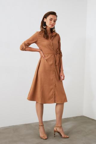 Trendyol Camel Belted Velvet Dress dámské 34
