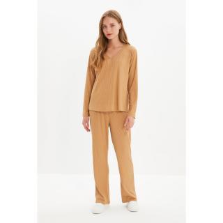 Trendyol Camel Camisole Knitted Bottom-Top Set dámské Other XS