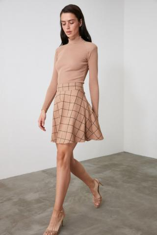Trendyol Camel Checkered Skirt dámské 34