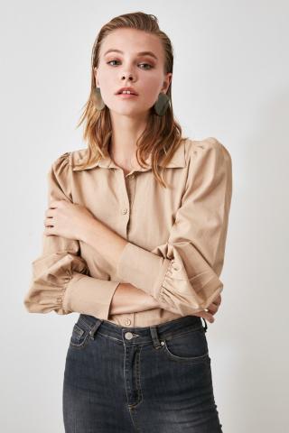 Trendyol Camel Color Block Shirt dámské 34