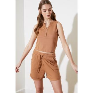 Trendyol Camel Fitilli 2 Knitted Bottom-Top Tool dámské S