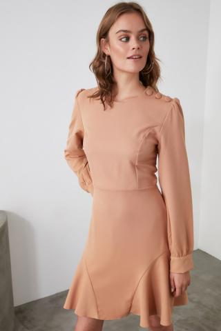 Trendyol Camel Flywheel Button Detailed Dress dámské 34