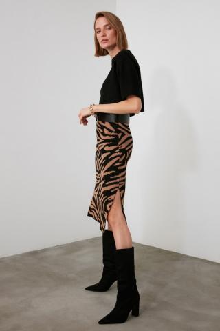 Trendyol Camel Jacquard Knitwear Skirt dámské S