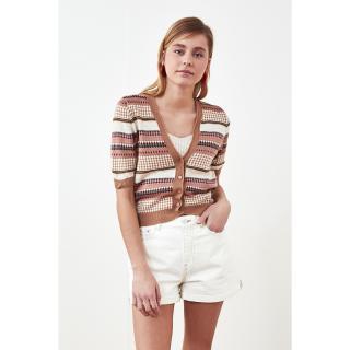 Trendyol Camel Jacquin Knitwear Cardigan dámské S