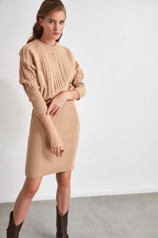 Trendyol Camel Knitted Detailed Knitwear Dress dámské S