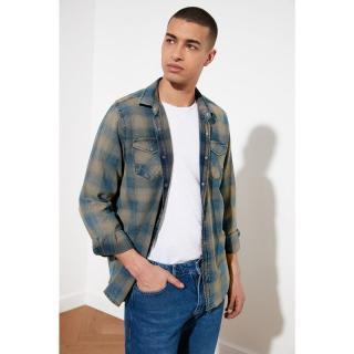 Trendyol Camel Mens Regular Fit Plaid Denim Double Pocket Shirt pánské S