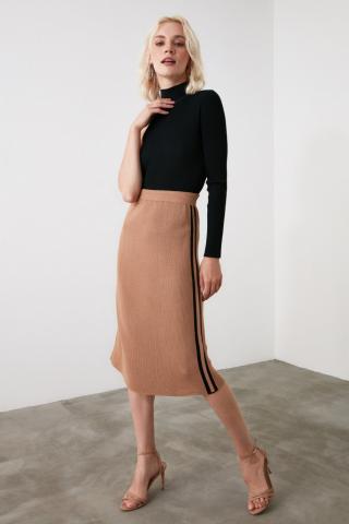 Trendyol Camel Side Striped Knitwear Skirt dámské S