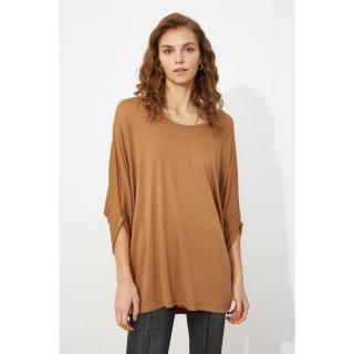 Trendyol Camel Sober Collar Boyfriend Knitted T-Shirt dámské S