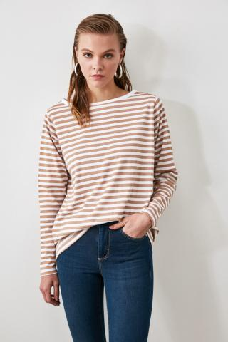 Trendyol Camel Striped Boat Collar Basic Knitted T-Shirt dámské Multi S