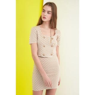 Trendyol Camel Striped Knitwear Sweater Skirt Bottom-Top Suit dámské S