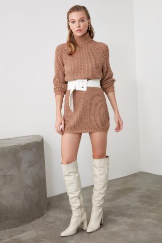 Trendyol Camel Turtleneck Knit Sweater Dress dámské S