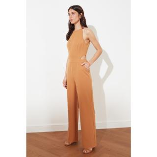 Trendyol Camel Waist Decolletage Jumpsuit dámské 34