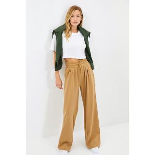 Trendyol Camel Wide Leg Knitted Sweatpants dámské Other XS