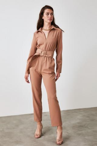 Trendyol Camel Zipper Detailed Jumpsuit dámské 34