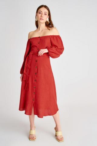 Trendyol Cinnamon Belt Dress dámské 34