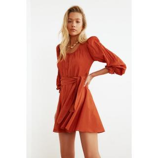 Trendyol Cinnamon Belt Vual Beach Dress dámské 36