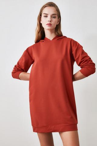 Trendyol Cinnamon Hooded Knitted Sweat Dress dámské XS