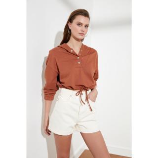 Trendyol Cinnamon Snap Detailed Crop Knitted Sweatshirt dámské XS