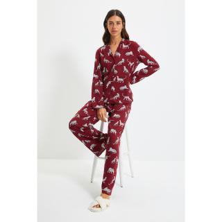 Trendyol Claret Red Animal Patterned Viscose Woven Pajamas Set dámské Other 36