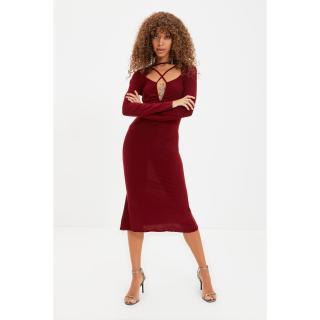 Trendyol Claret Red Collar Detailed Dress dámské Other 34