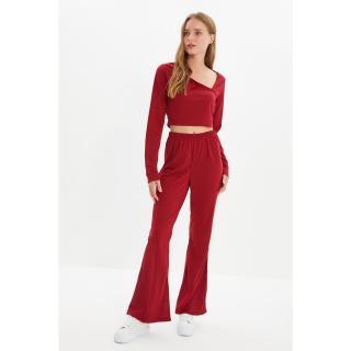 Trendyol Claret Red Collar Detailed Knitted Bottom-Top Set dámské Other XS