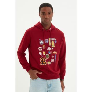 Trendyol Claret Red Men Regular Fit Hoodie Sweatshirt pánské Other XL