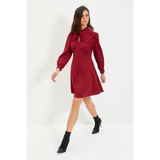 Trendyol Claret Red Tie Detailed Knitted Dress dámské Other XS