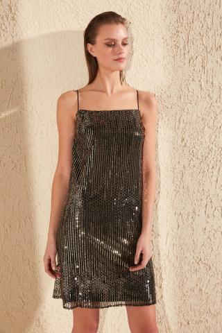 Trendyol Copper Sequined Dress dámské čierná 42