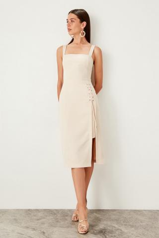 Trendyol Cream Birdeye Detailed Dress dámské 36