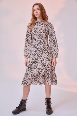 Trendyol Cream Patterned Dress dámské 34